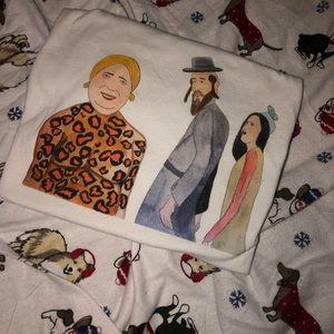 Size small random artwork canvas shirt